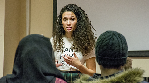 NUS President Mali Bouattia speaks for students